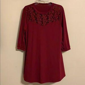 Cotton Dress with Lace Neck Detail